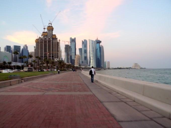 Modern buildings along the promenade,Doha,Qatar