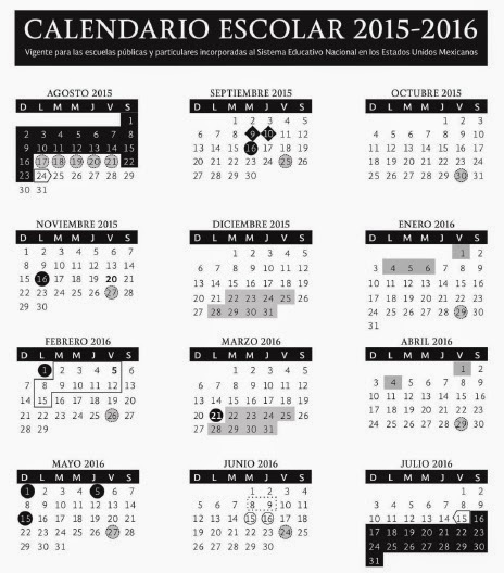 Supervisión Escolar Papantla: CALENDARIO ESCOLAR 2015-2016: PROPUESTA