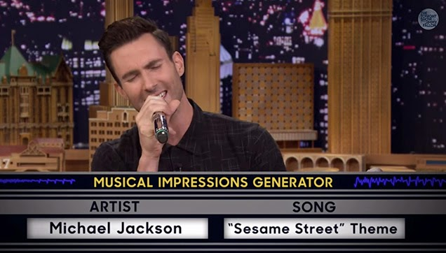 "Adam Levine singing the ""Sesame Street"" Theme with a Michael Jackson Impression."