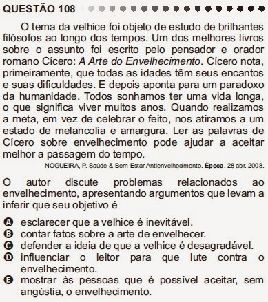ANÁLISE - ENEM/2011 - QUESTÃO 108 - PROVA CINZA