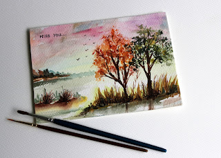 season,autumn,missyou,naturetrees,scenery,illustration,minipainting,birds,view,scene,watercolor,artwork