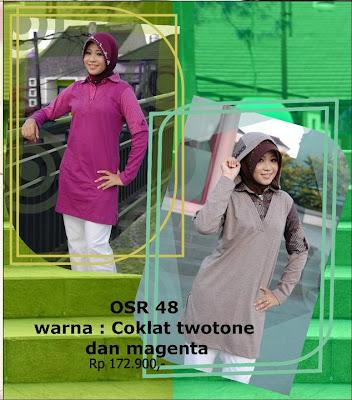 Koleksi Osmoes Kaos Muslimah Trendy Coklat Twotone Magenta