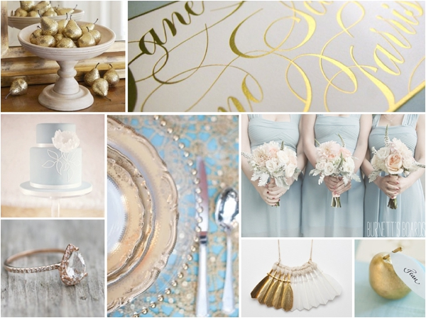 powder blue & gold inspiration board from Burnett's Boards( http://burnettsboards.com/2012/12/12-days-of-christmas-partridge/)