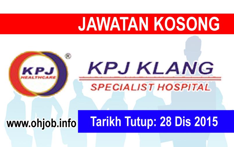 Jawatan Kerja Kosong KPJ Klang Specialist Hospital logo www.ohjob.info disember 2015