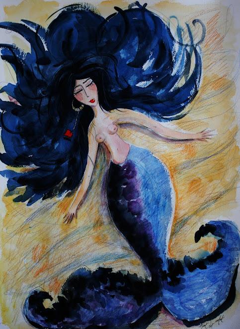 Sirène endormie aux cheveux qui dansent