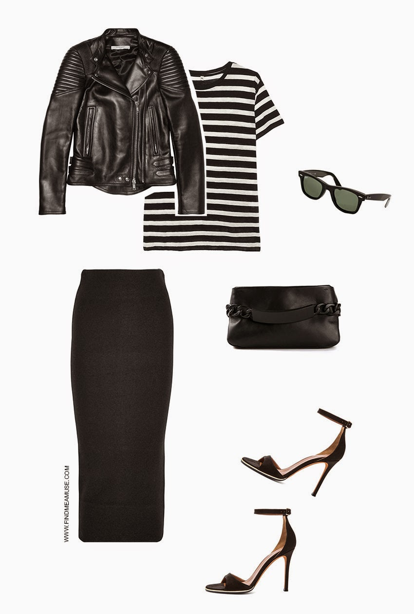 Find Me A Muse styled 'urban biker chic outfit' with Givenchy leather biker jacket, R13 striped boy shirt, Acne wool fitted skirt, Ray-Ban classic Wayfarer sunglasses, Maison Martin Margiela ID chain clutch, Givenchy leather heels