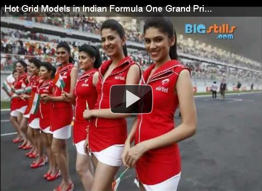 Hot Indian Models in Indian Formula One Grand Prix at the Buddh International Circuit in Noida