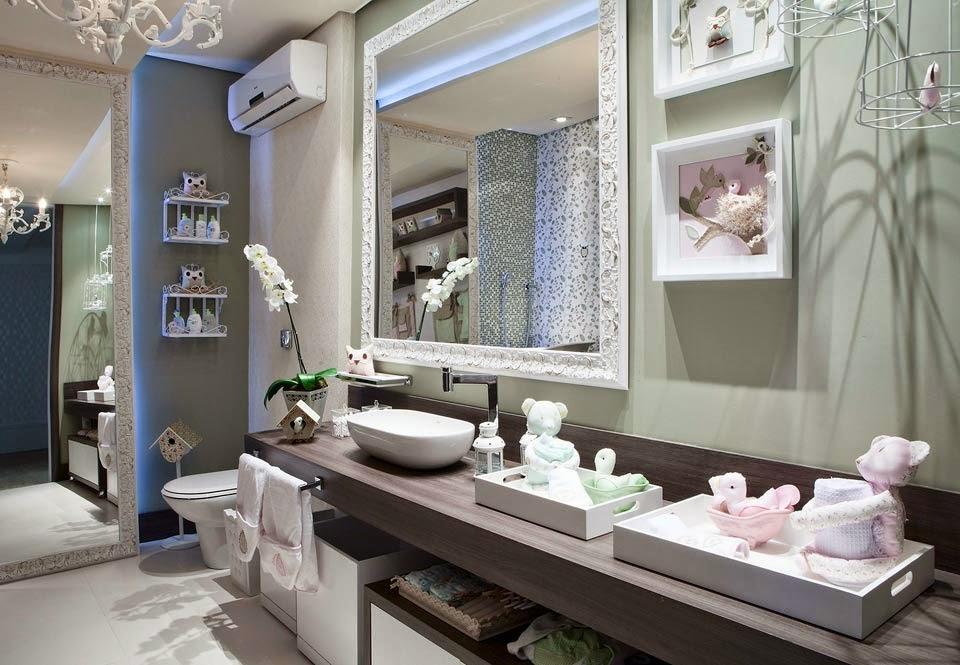 Banheiros de bebês  veja modelos lindos para meninas e meninos + dicas!  De -> Banheiro Decorado Com Revestimento Eliane