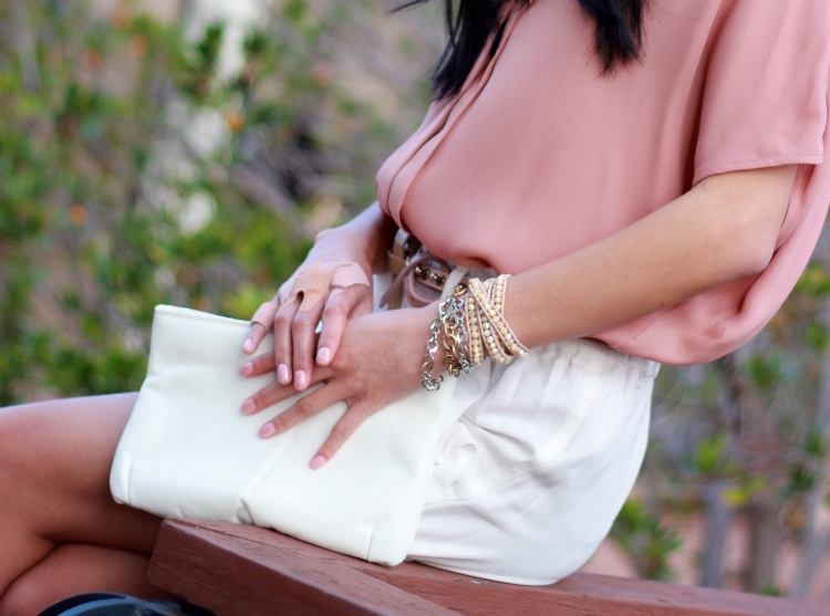 blush pink color palette outfit arm party bracelet stack