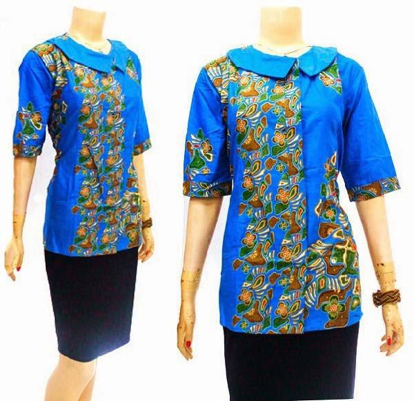 Baju Batik Blouse motif batu biru