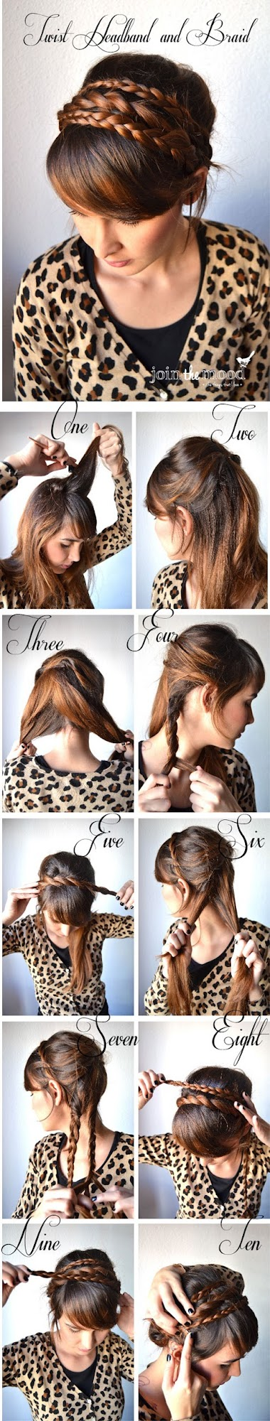 Step 2: Divide the section of hair into two, and do a rope twist, basically just twisting the two sections of hair together, in an upwards direction all the way to the end. Step 3: Once you reach the end, lift it up and sit it over the top of your head, like a headband.
