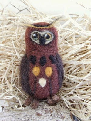 Needlefelted Owl and cat