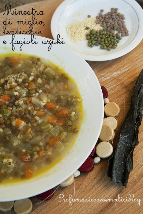 minestra di miglio, lenticchie e fagioli azuki