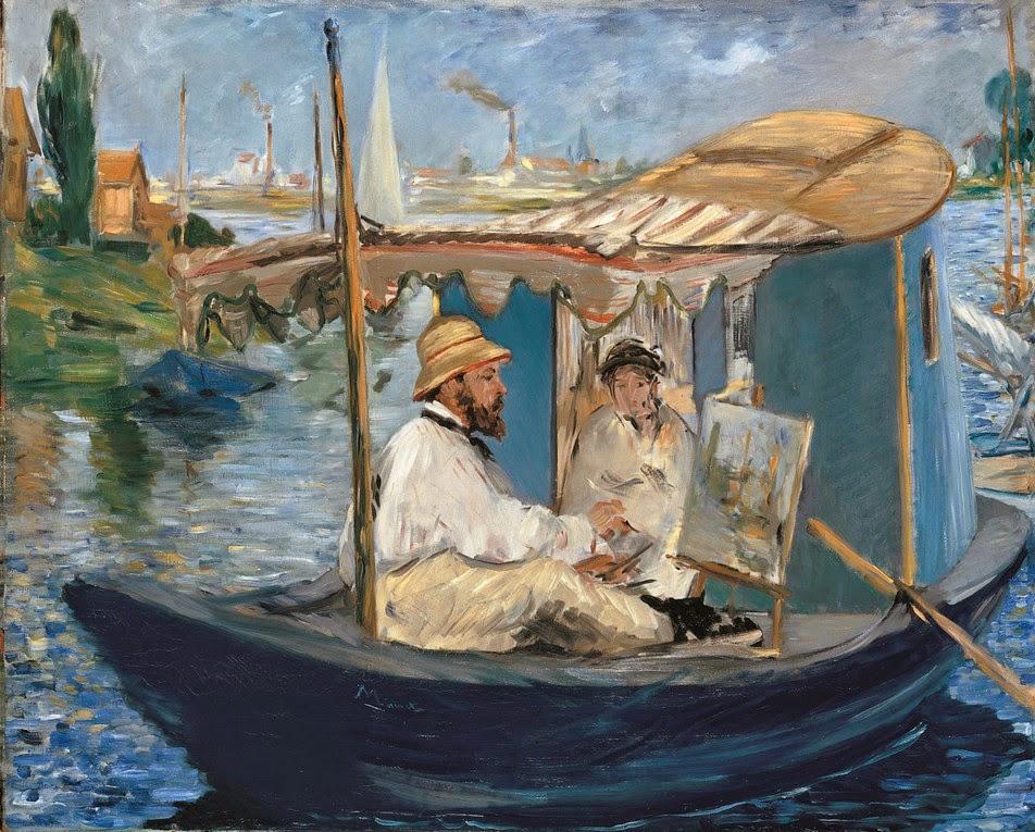 Édouard Manet, Claude Monet pintando en su barco-taller en Argenteuil (1874), Neue Pinakothek, Munich
