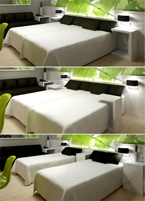 Zara Boutique Hotel Standard Rooms. Bed side tables. Design by Somerset Harris