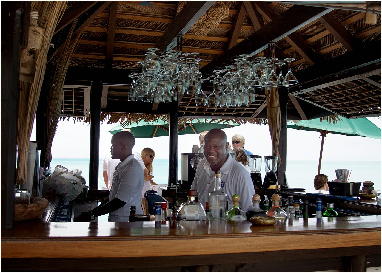 Bar man at Sheer Rocks in Antigua