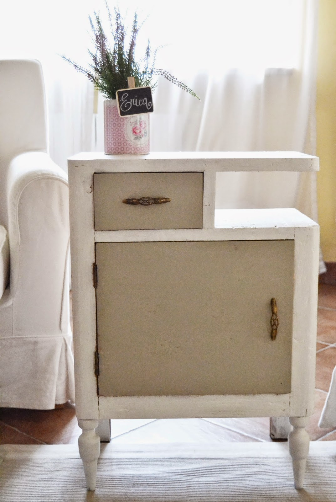 comodino shabby chic before and after