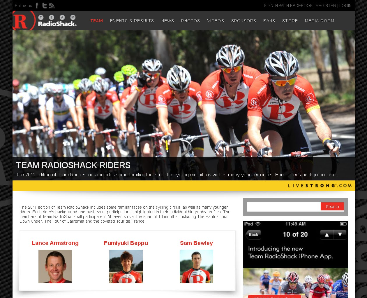 Image of Team RadioShack 2011 Riders page (click on image to go to livestrong.com/teamradioshack/riders)
