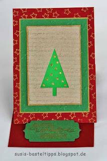 Weihnachts- Aufstellkarte mit Baumwollpapier