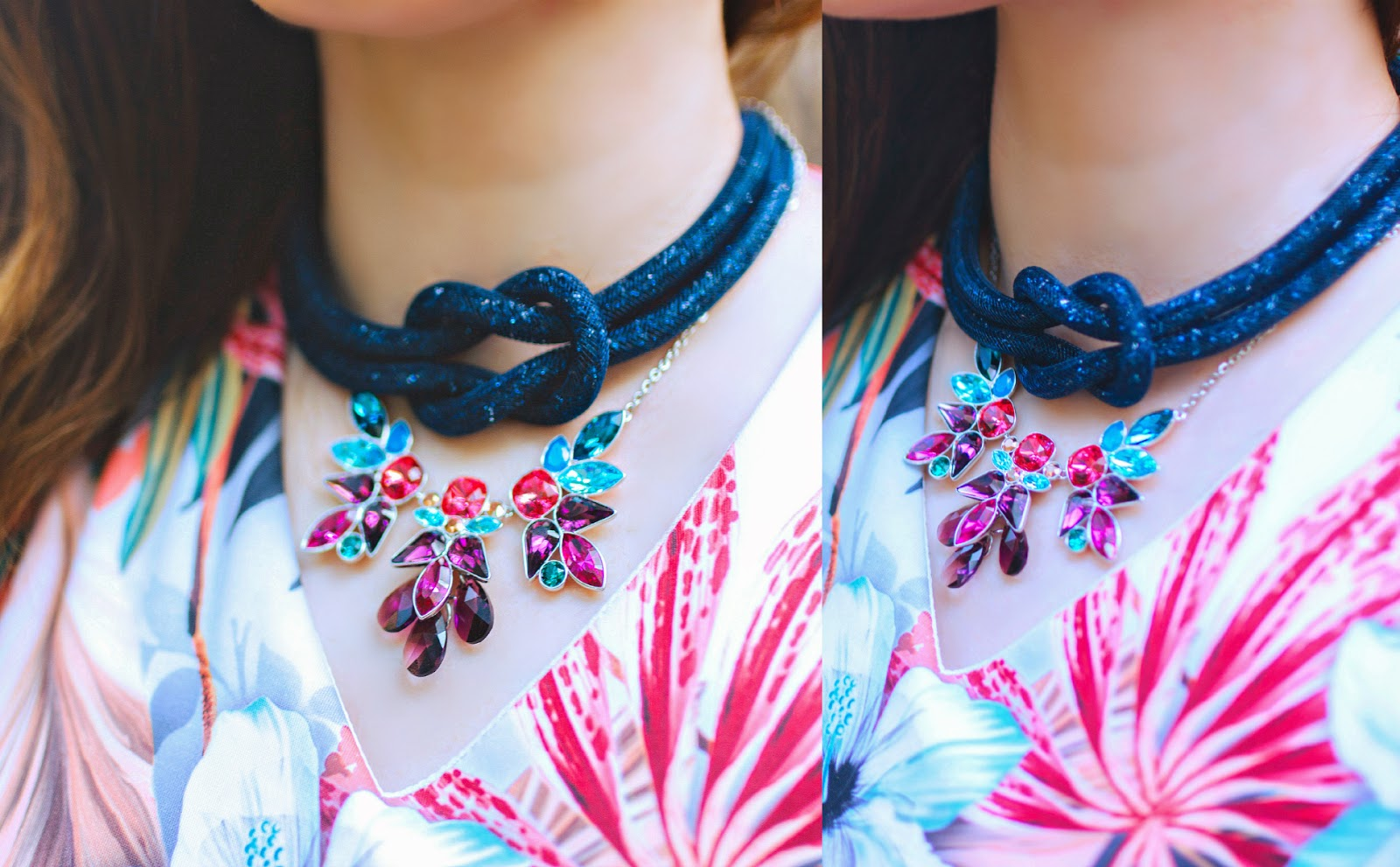 Swarovski Stardust Knot Necklace, Cardinal Floral Necklace,