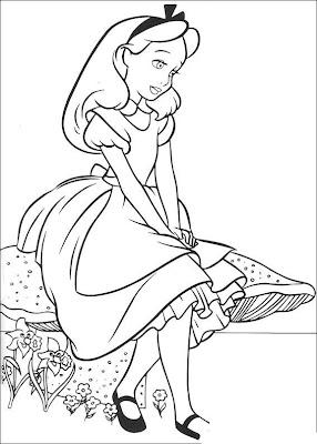 Desenho da Alice no país das maravilhas para colorir