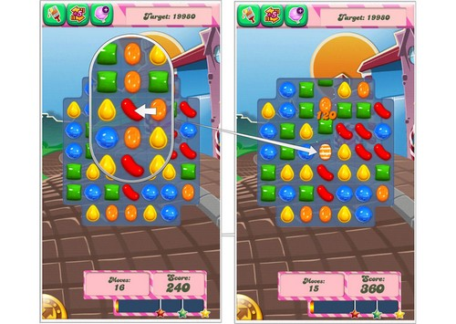 Caramelos a rayas Candy Crush