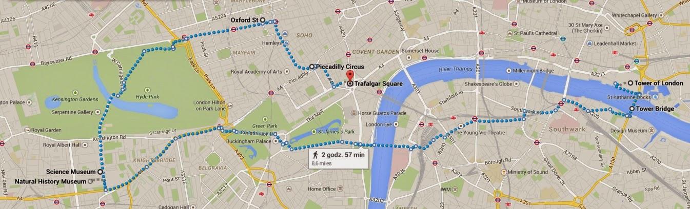 Mapka mojej podróży po Londynie - dzień 1.
