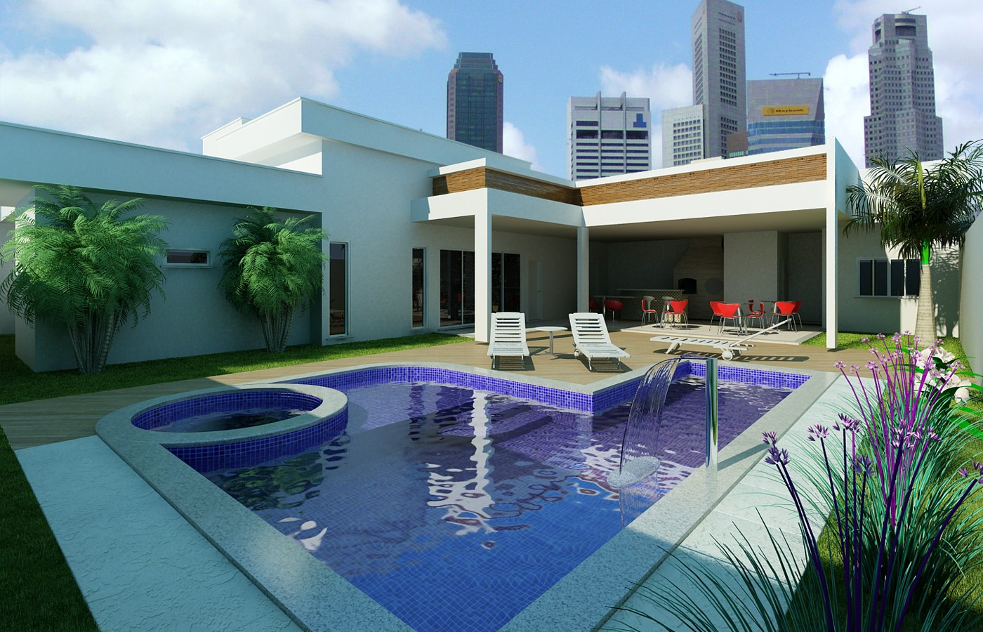 Casa Clean: Jardins Externos!!! Fachadas com plantas gramas e pedras #2B6BA0 1400 900