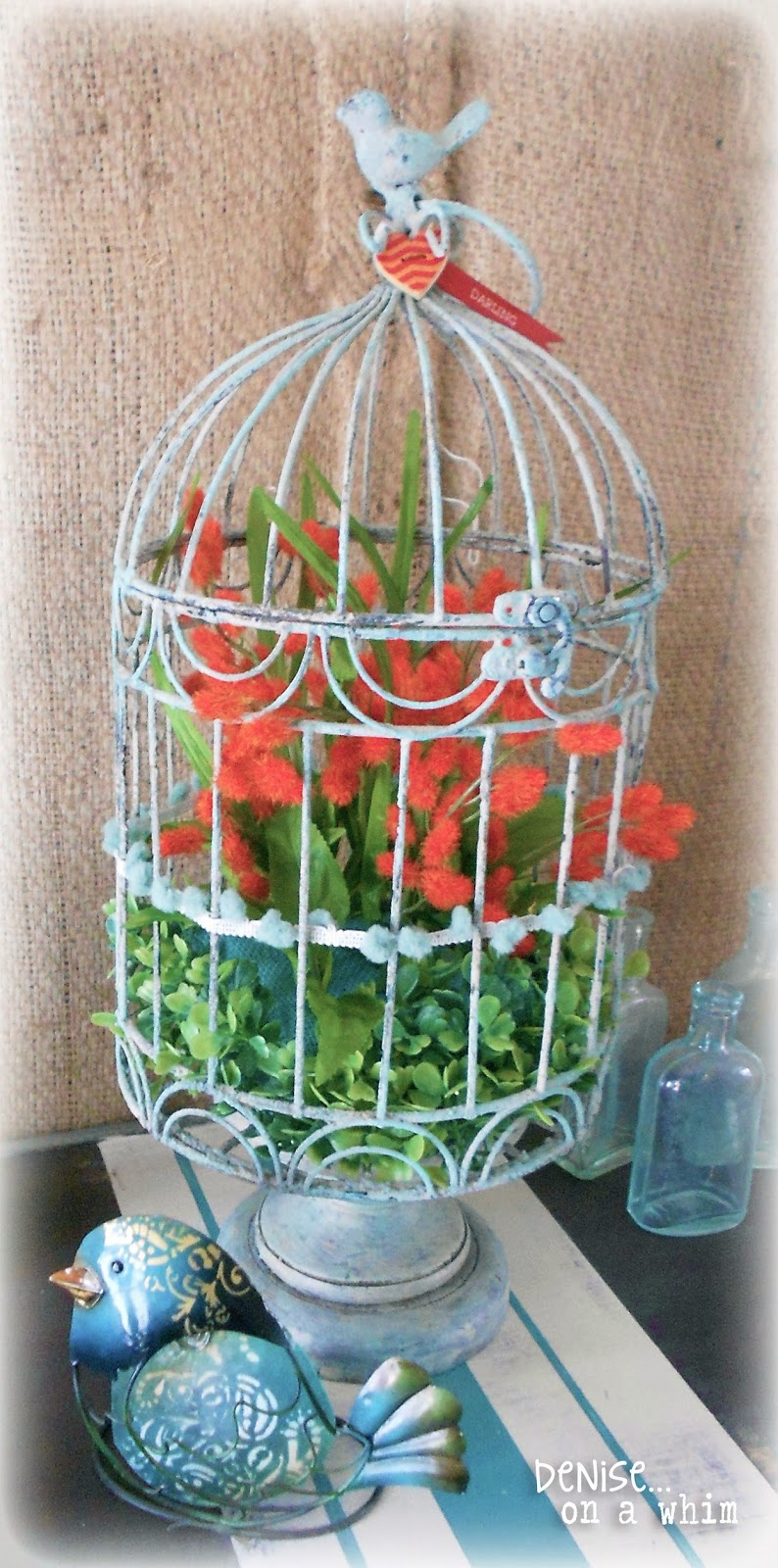 Orange and Turquoise Birdcage via http://deniseonawhim.blogspot.com