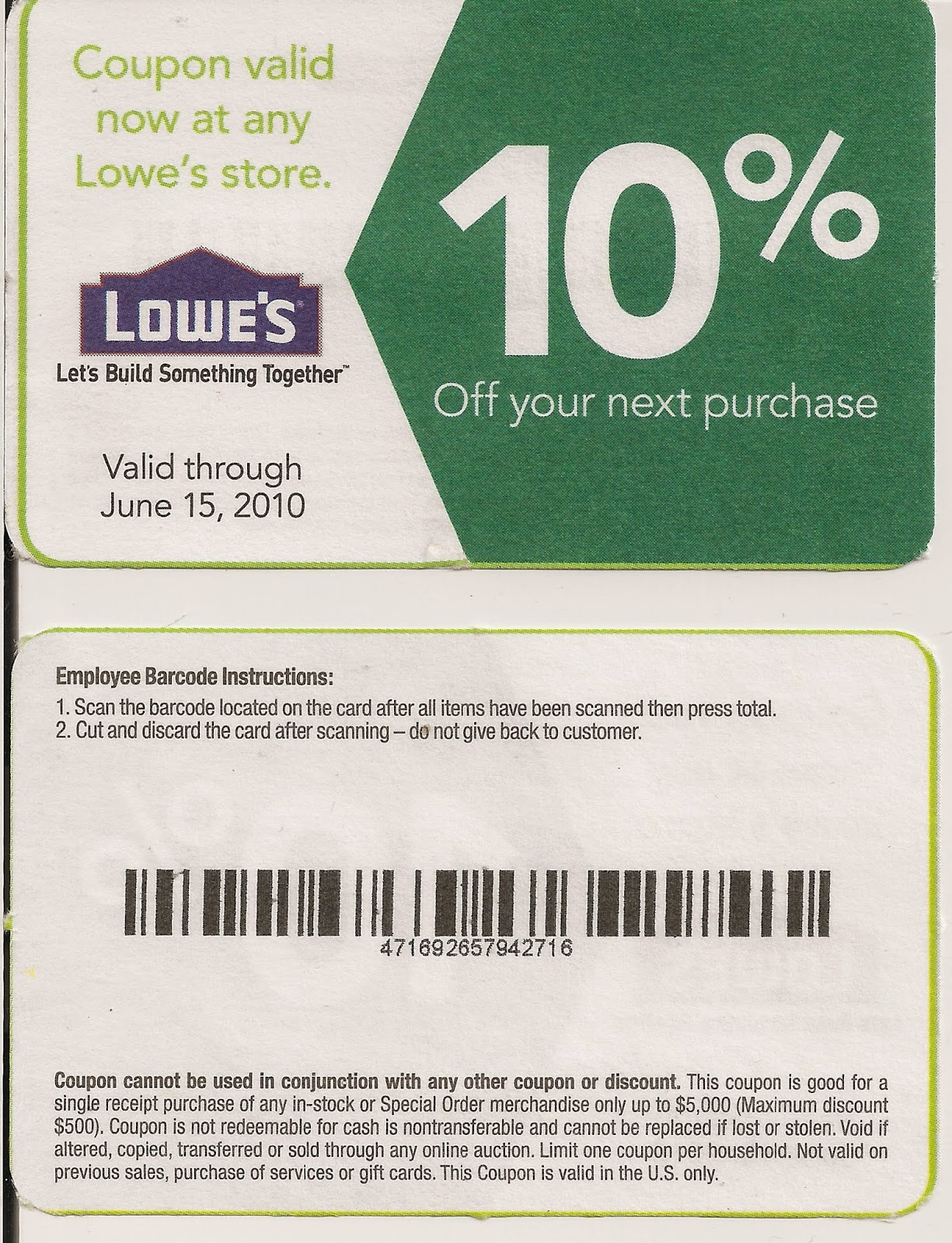 Lowes in store coupon code