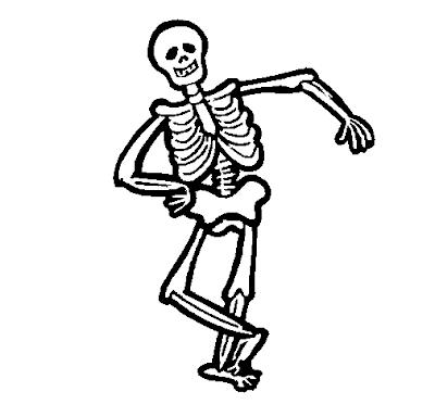 Desenhos Preto e Branco Esqueleto estiloso so no osso fazendo pose Colorir