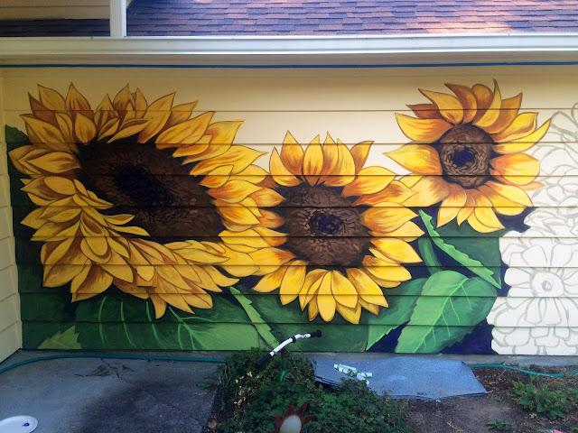 garden mural, sunflower mural, portland mural, portland muralist, floral mural portland