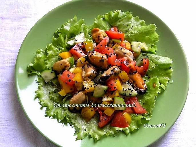 Салат из мидий с овощами рецепт