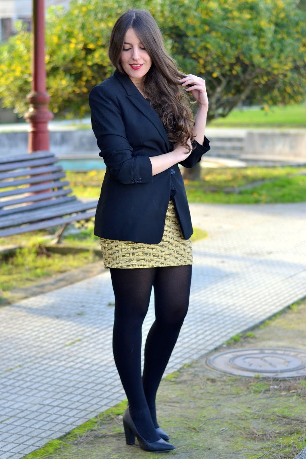 Zara black blazer with Mango golden skirt