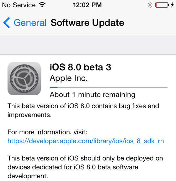 Apple iOS 8 Beta 3 Firmware OTA