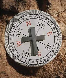 bússola, cruz, evangelho, direção, norte