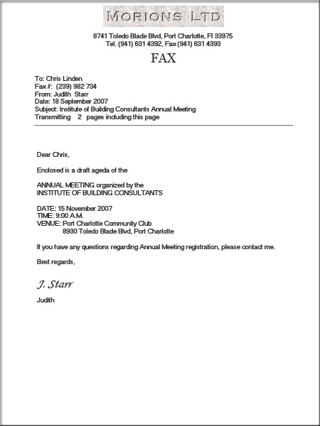 Fax Cover Letter Sample