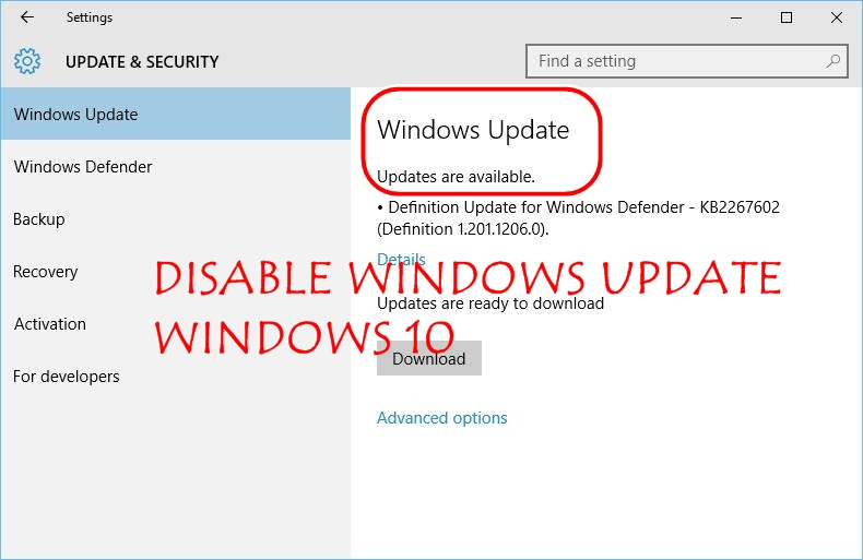 how to temporari ly stop defender in windows 10