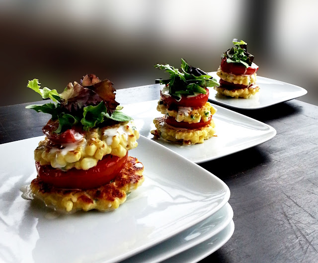 corn fritters with roasted tomatoes and lime aioli