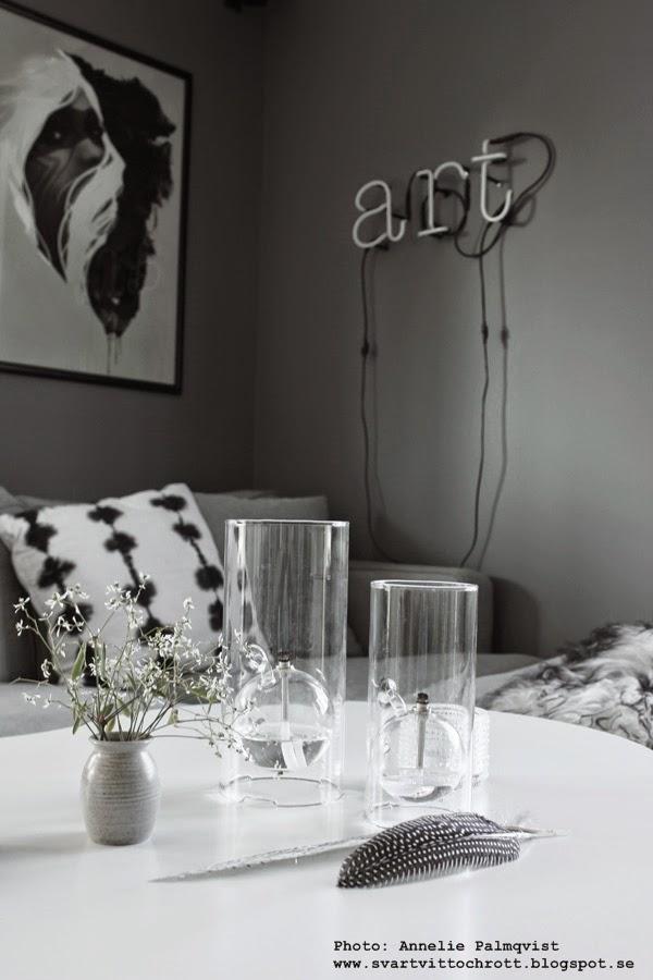 oljelampa, tell me more, industristil, industriell, industriellt, soffbord, grå liten vas, fjädrar, vitt och grått, soffa, detaljer, detalj, inredning, inspiration, neon, neonljus, neonbokstäver, vägg,