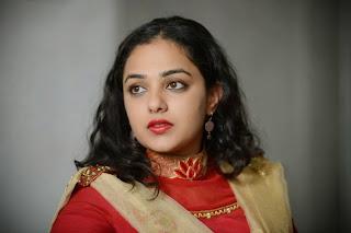 Actress Nithya Menon Pictures in Red Salwar Kameez at Oke Bangaram Interview  14.jpg
