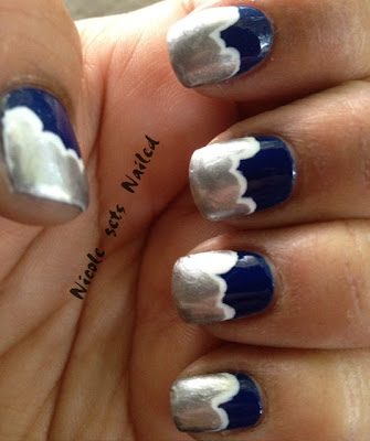 Blue White Silver Cloud Manicure