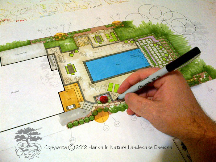 Landscape designer working hard on a pool landscape plan for Pool design book
