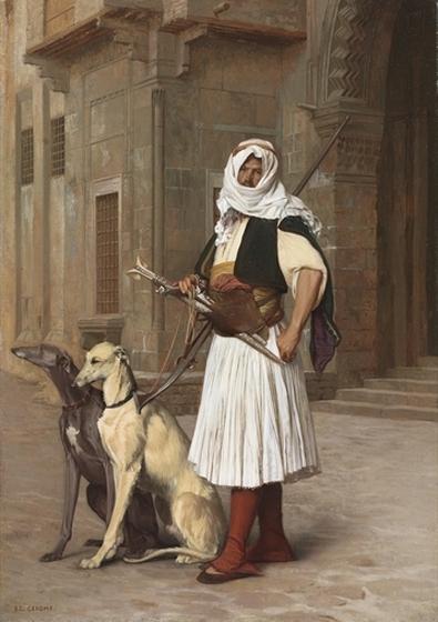 Arnaute avec deux chiens whippets