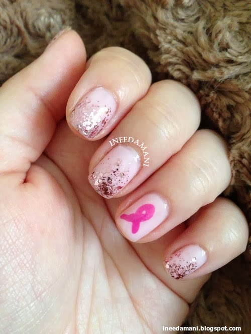 breast cancer awareness pink ribbon glitter nails