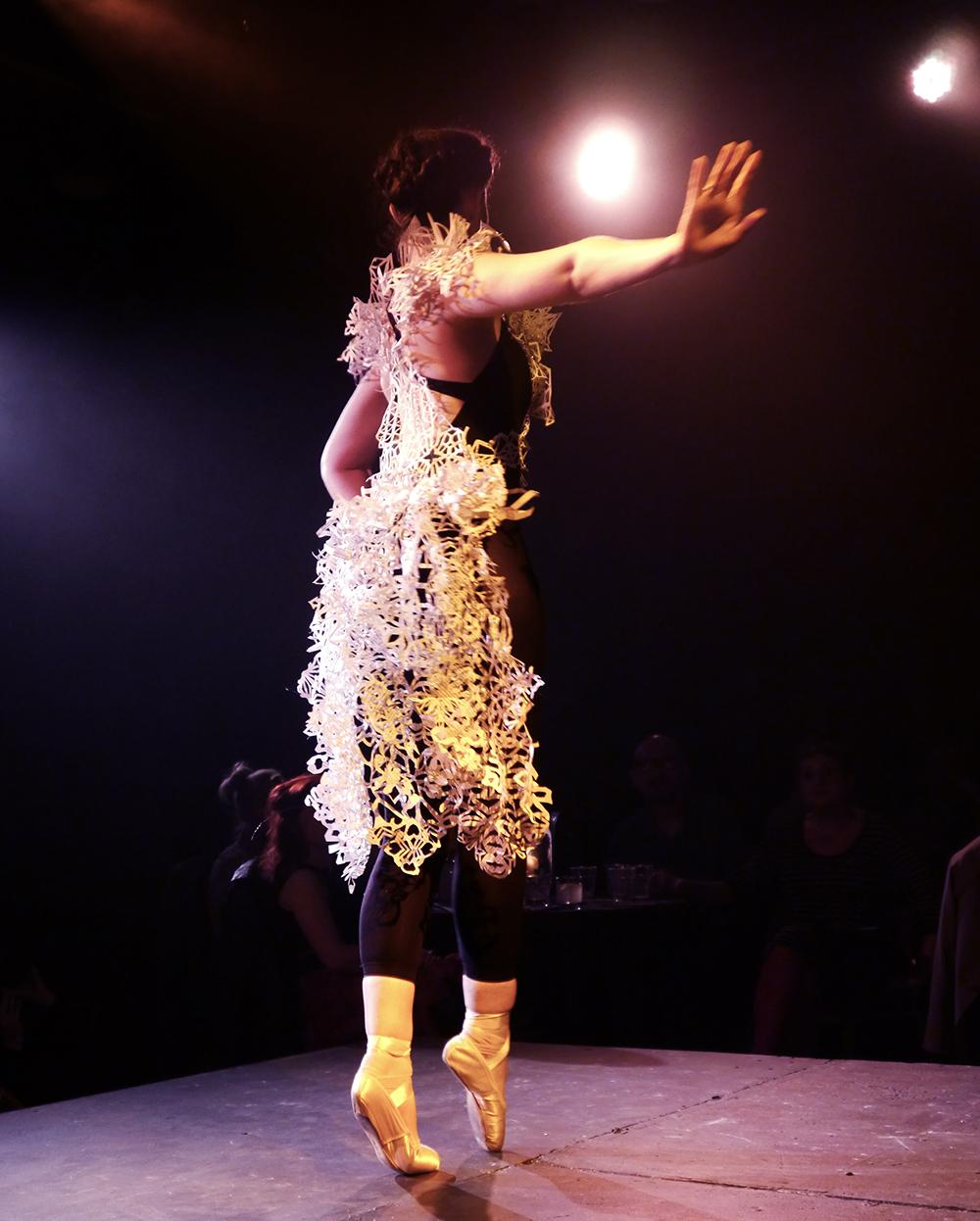Dundee Wearable Art, Dundee Wearable Art Show, Wearable art, performance, fashion and art, Scottish Bloggers,  Rachel Goodwin - Ice Crystal, paper cut, paper cut dress, ballet
