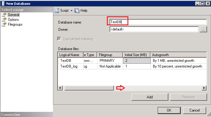 Create new SQL Database in new location using SSMS