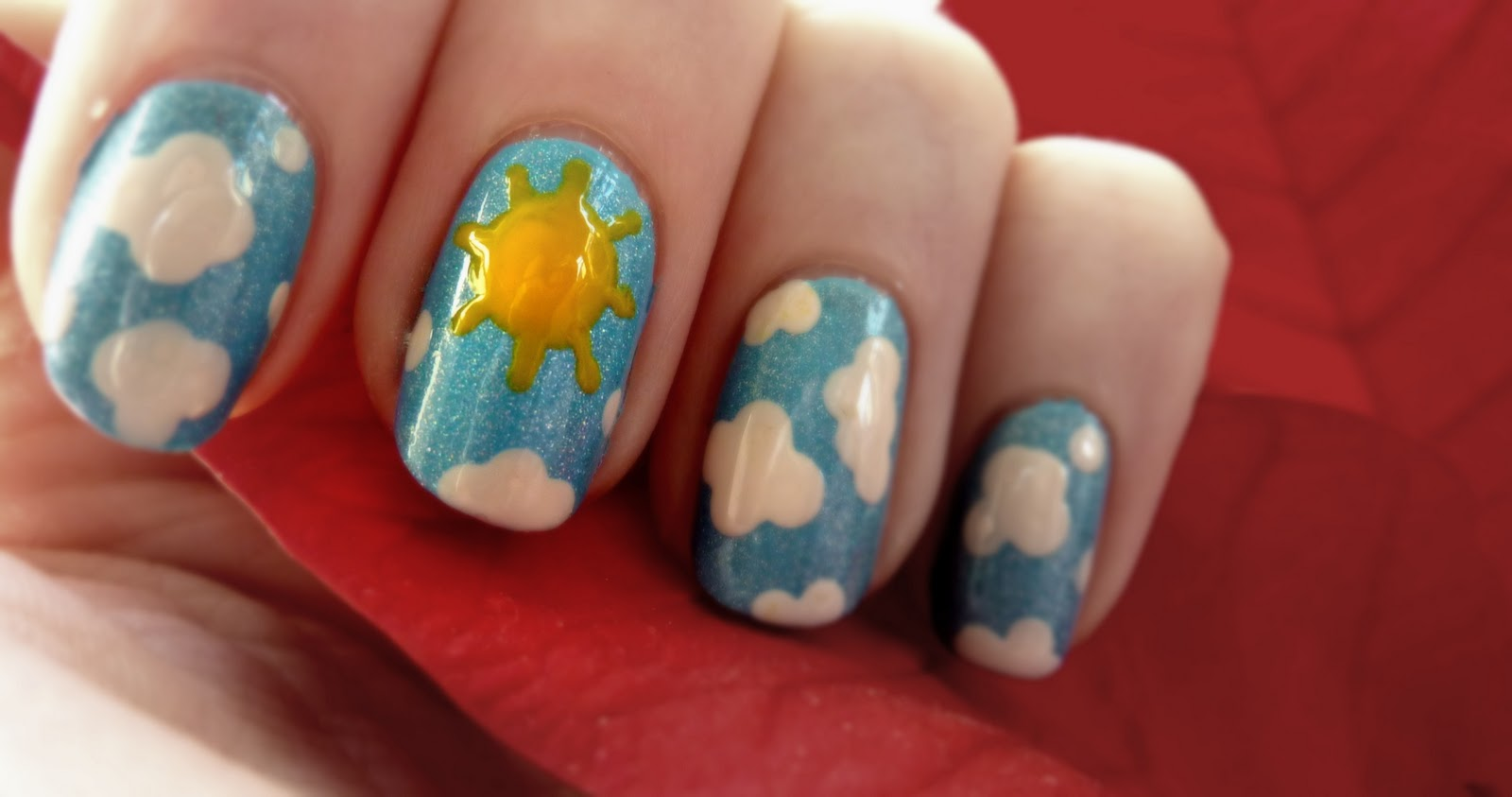 The Weather Never Changes Always Rainy Cloudy Cold Miserable Sooooo What Better To Do Than Some Sunny Sky Designs On My Nails