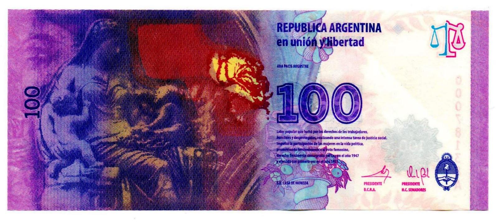 Analisis del billete de 100 pesos de evita
