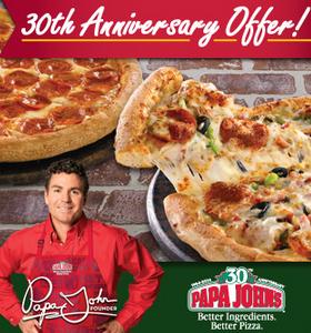 30 cent pizza at papa johns coupon 30th anniversary